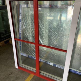 Fast fönster i trä/alu, 10x13 Vit insida, röd alu utvändigt Löstagbara spröjs 1:1