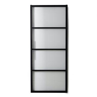 Skjutdörr Square Habo svart alu härdat glas